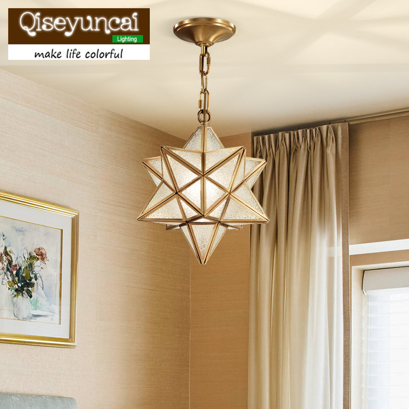 Qiseyuncai 2018 new American Restaurant Full Copper Stars Chandelier Simple Entrance Corridor Bar Creative Personality Lighting free deliverythe the new clover pendant glass piaochuang tiffany bar creative personality corridor lamp simple modern lighting