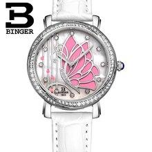 Papillon Conceptions BINGER Femmes Mode Étanche En Cuir Diamant dames Montre Relogio Feminino B-3019L montre femme Montres