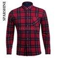 Men Autumn winter warm cotton Shirt long-sleeved thick velvet Fleece blouses plaid Male Plus Size Tops Blusa Camisa Femininas