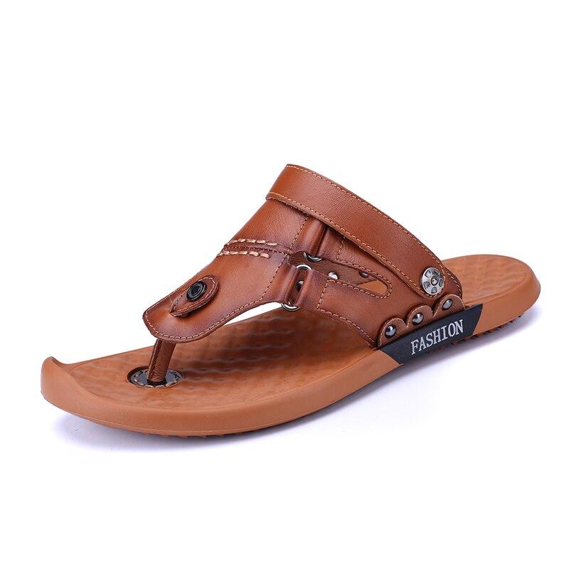 Flops Playa dark Hombre Cuddlyiipanda Brown Cuero Brown Decoración Verano Moda Zapatillas De 2019 Flip Light Cool Sandalias Metal Genuino 6qqPwS0xT
