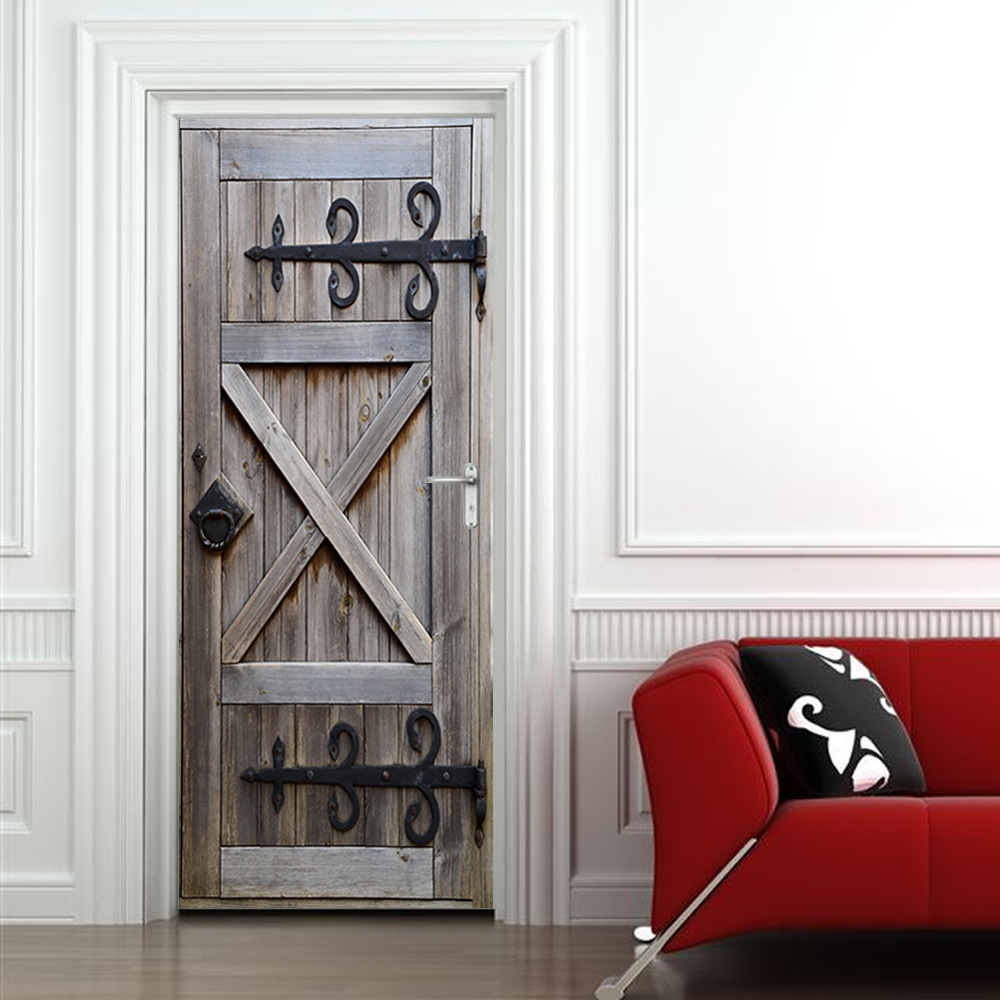 Image 5 - Wood Door Police Elevator Silver Blue Murals Door Murals Wall Mural Door Decals Door Wall Stickers Wallpaper Mural DIY Home-in Wall Stickers from Home & Garden