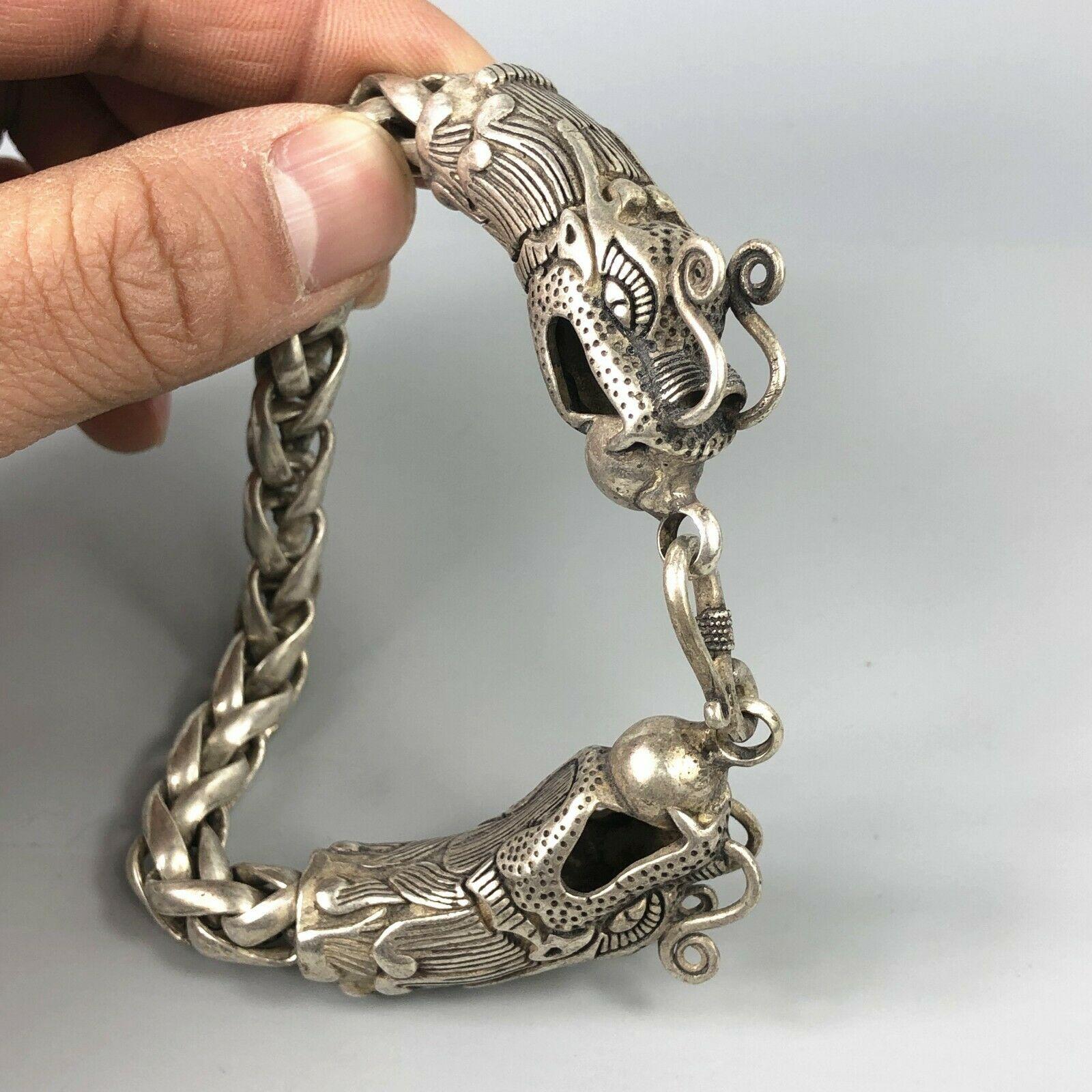 Chinese Tibet silver carved dragon Head Men bracelet
