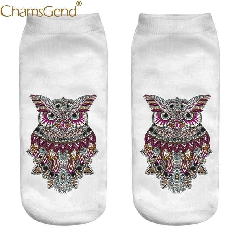 Chamsgend Drop Shipping Boho Style Owl Cartoon Print Socks Women Cotton Socks Drop Ship 80402