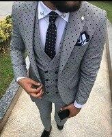 2018 Новый Для мужчин Нарядные Костюмы для свадьбы Slim Fit Комплект из 3 предметов смокинг жениха дружки пользовательского Для мужчин костюмы дл