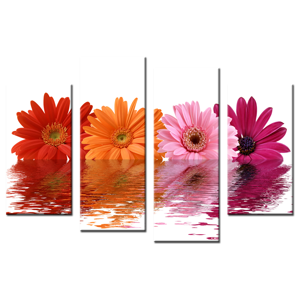 Four Modern Canvas Art Beautiful Flowers Artwork Canvas Printed
