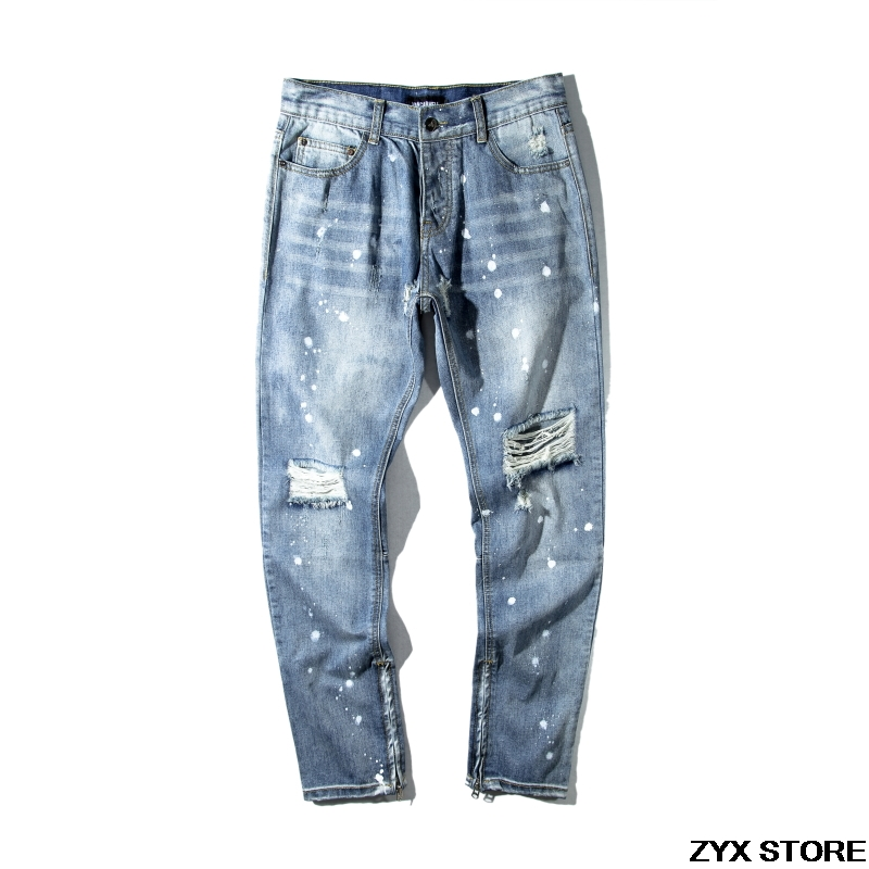 2017 New Ripped Biker Jeans FOG Style Men With Holes Denim Skinny Famous Designer Brand Slim Fit Jean Pants Scratched Jeans  цена и фото