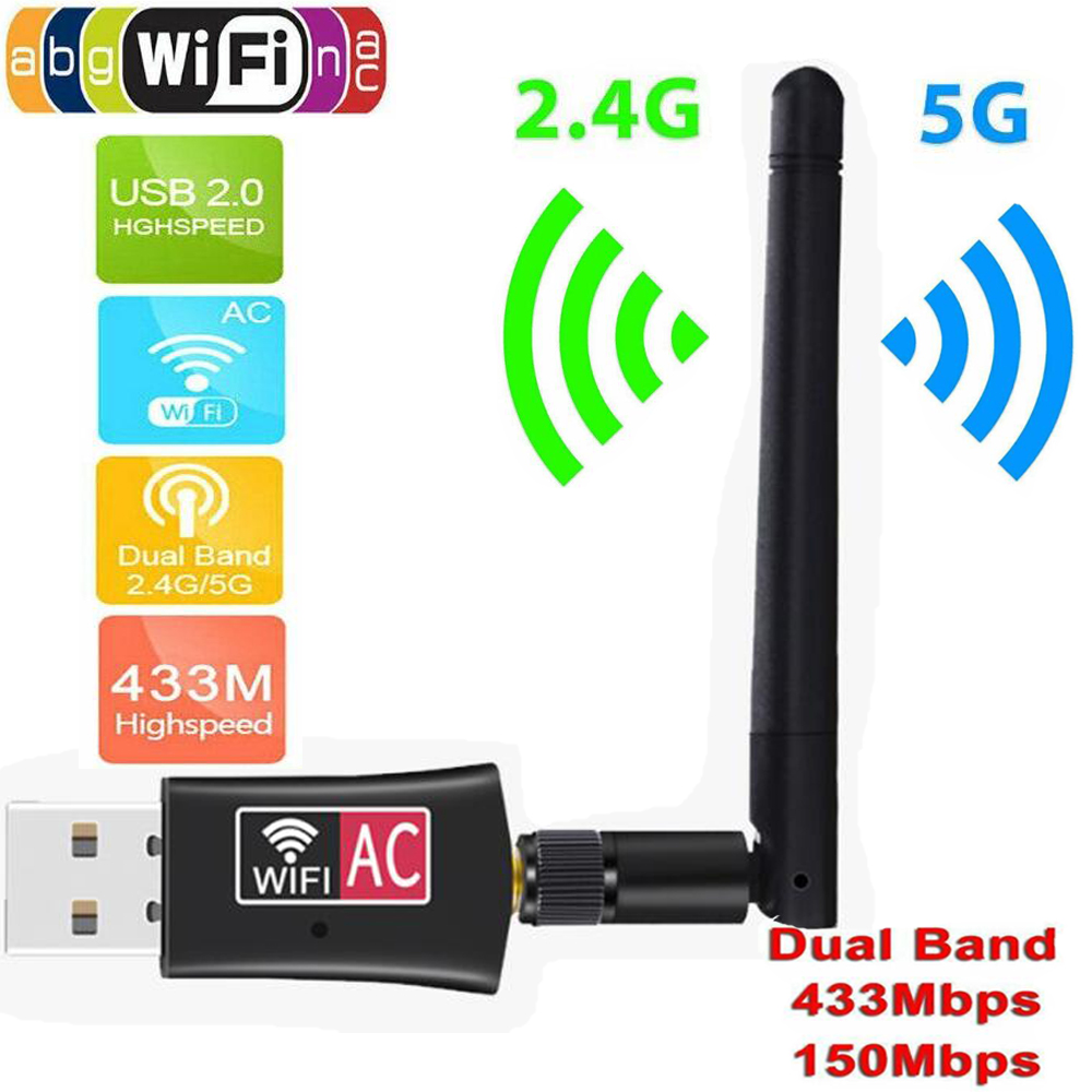 Wireless USB WiFi Adapter 600Mbps Wi Fi Antenna PC Network Card Dual Band Wifi 5 Ghz Adapter Lan USB Ethernet Receiver AC Wi-fi