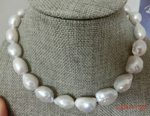100% Selling full classic 14-15mm south sea white baroque pearl necklace 18inch
