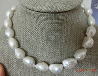 100% Selling full classic 14 15mm south sea white baroque pearl necklace 18inch