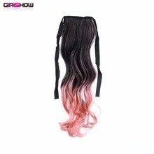 """Girlshow 2"""" Длинные прямые ленты обернуть вокруг хвост Синтетический шиньон Омбре два тона волос расширение ORP-888, 80 г/шт"""