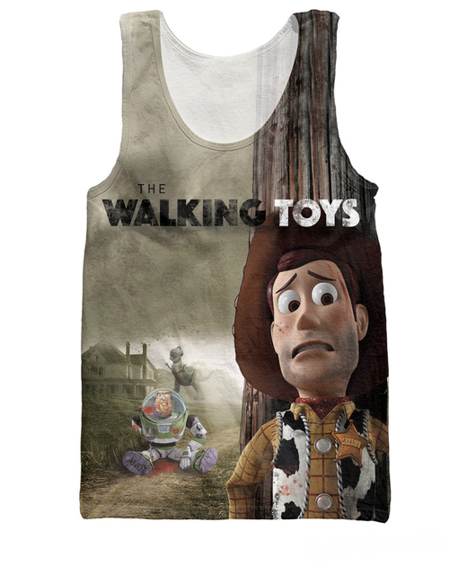 4ac6f4b9afa The Walking Toys Tank Top Characters Toy Story Woody and Buzz Lightyear  Fashion 3d Jersey Summer