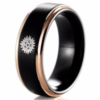 SHARDON 8MM Tungsten Wedding Ring New School SUPERNATURAL Design Black Satin Finish With Gold Step Promise