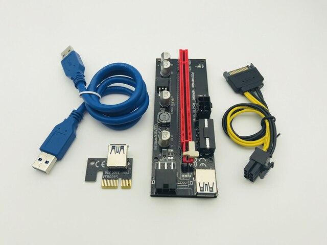6 шт. новые VER009 переходная карта pci-e VER 009 S Express 1X 4x 8x 16x USB 3,0 Extender Riser адаптер карты SATA 15pin до 6 булавки мощность кабель