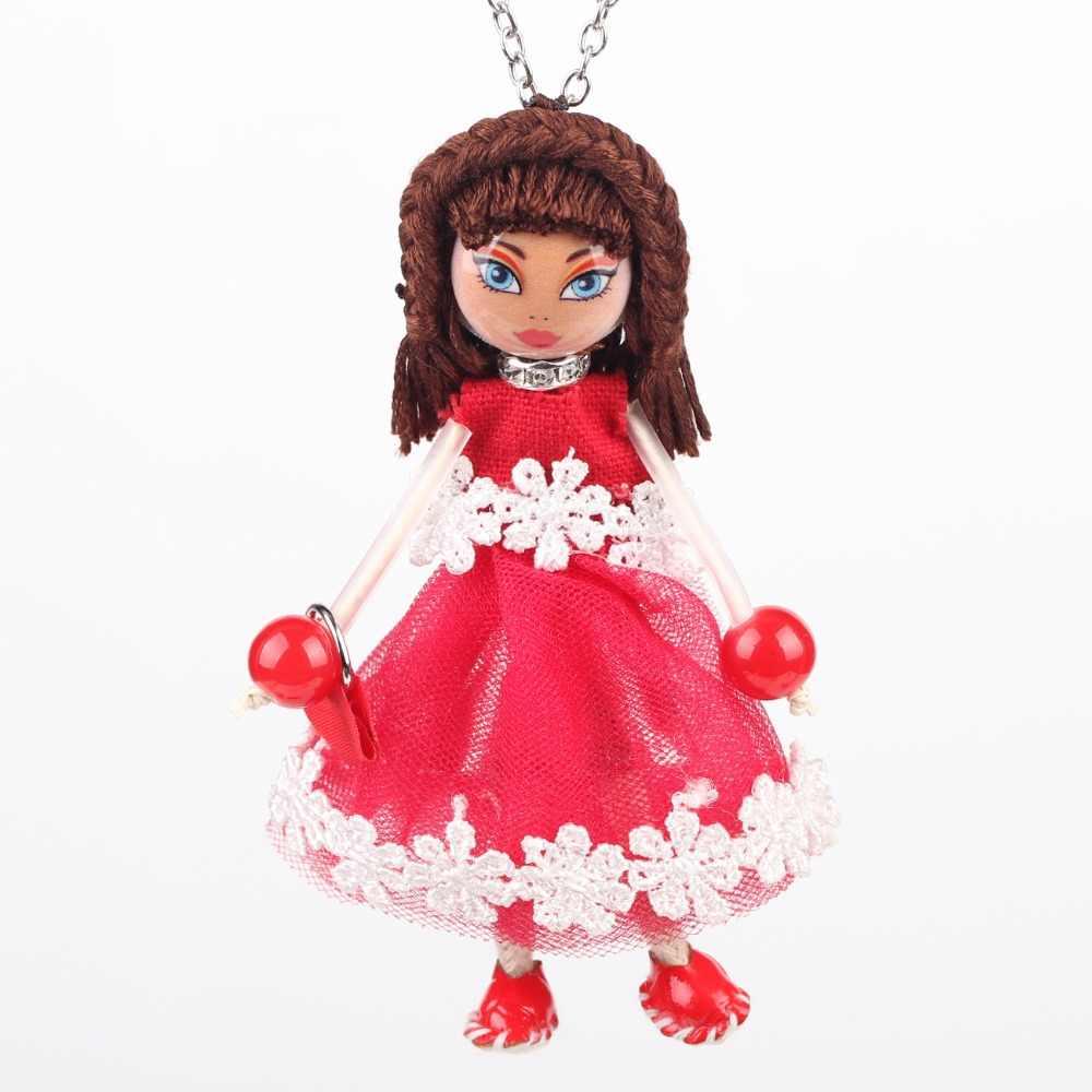 Bonsny кукла акриловая подвеска длинная цепочка французские ожерелья для официальных встреч 2016 новая мода для женщин Девушка чокер очаровательные аксессуары