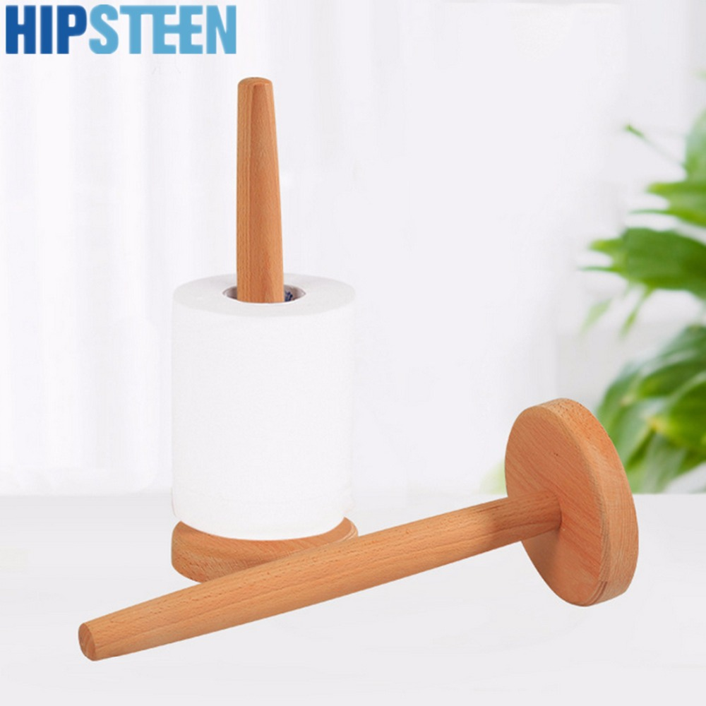 HIPSTEEN Beech Wooden Vertical Stand Roll Paper Stand Holder Kitchen Paper Towel Toilet Tissue Holder Household Kitchen Tool