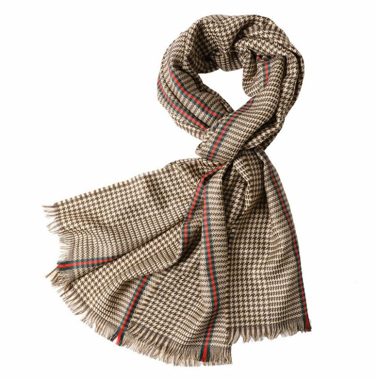 100%Wool Scarf Women Wrap Small Bird Plaid Brown Gray pashmina shawls Pure Wool High Quality Natural Fabric Extra Soft and Warm