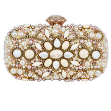 Mode Beige Frauen Perlen Abendtasche Bankett Kupplung Träumen Hochzeit Fall-metallhandtaschen-partei Designer Handtaschen Mit Kette Clutch Bag 13