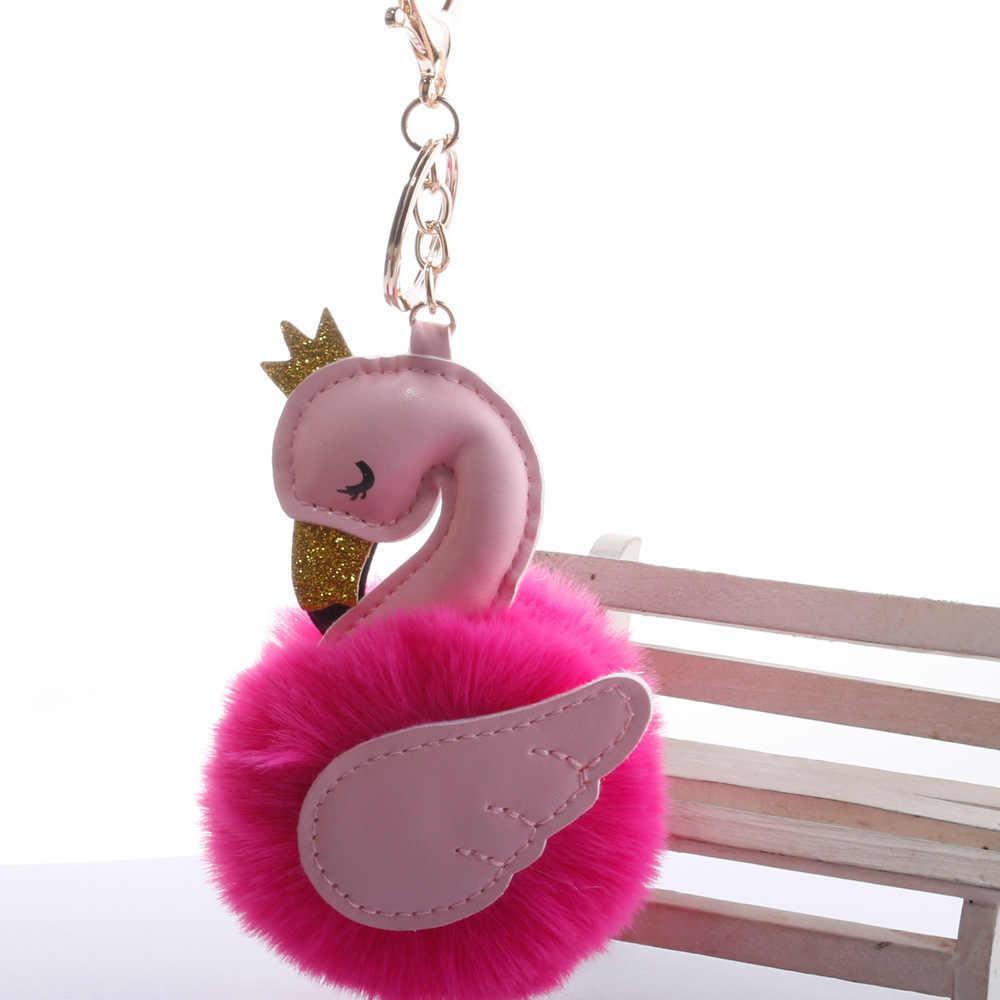 Qiyufang 귀여운 핑크 플라밍고 pompom 키 체인 백조 열쇠 고리 가짜 토끼 모피 공 여성 자동차 가방 pompon 열쇠 고리 pom pom 홀더 장난감