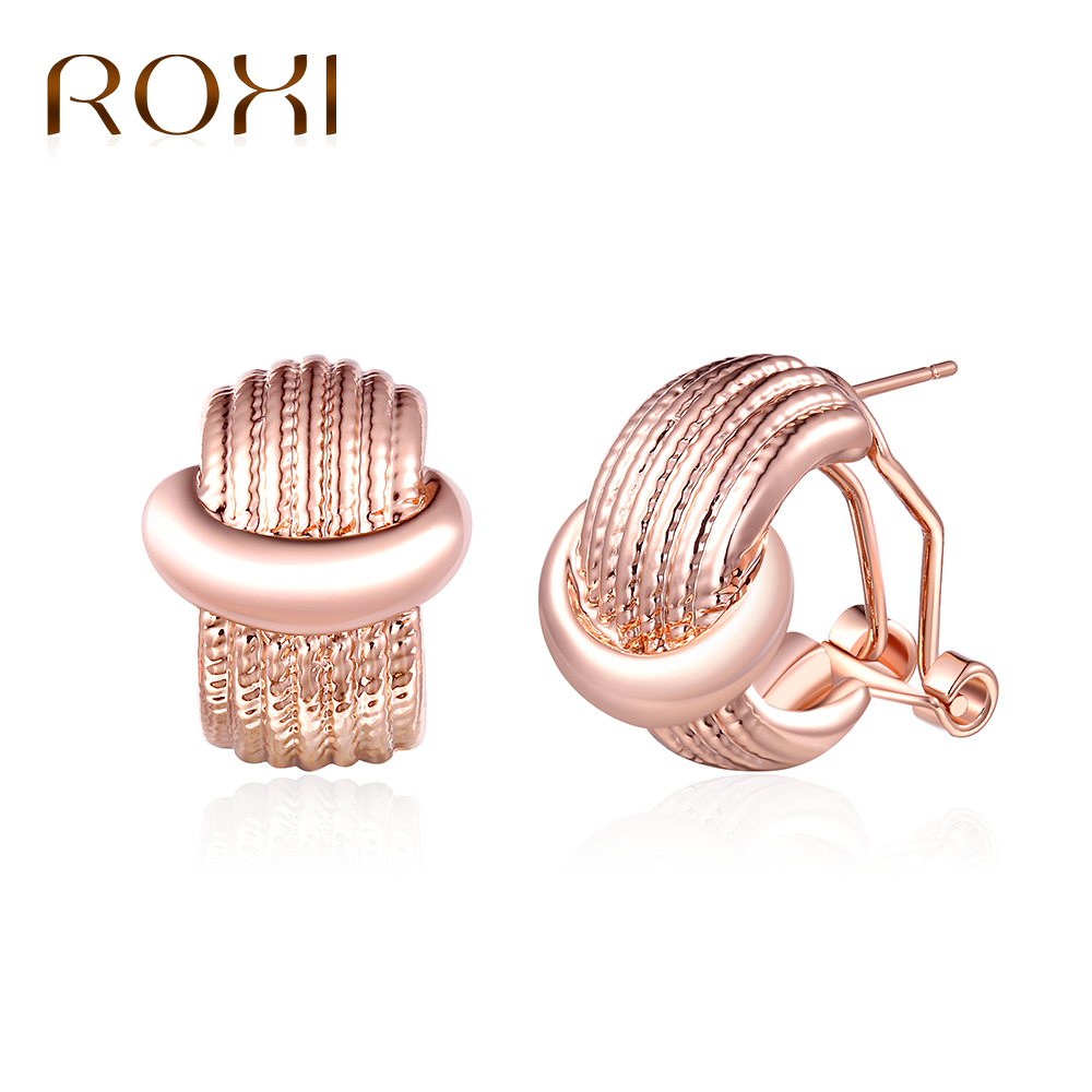 ROXI New Thread Earrings for Women Jewelry Fashion Rose Gold Color Statement Stud Earring boucle doreille femme 2018 Dropship