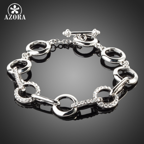 AZORA White Gold Color Stellux Austrian Crystal Eight Round End to End Bracelet TS0018
