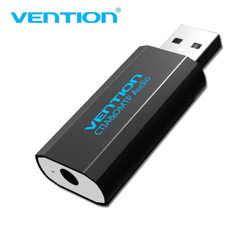 Venção 3.5mm usb adaptador usb cartão Adaptador de áudio Com Microfone USB Para Jack 3.5 Conversor Para PS4 Computador Portátil fone de ouvido Placa de Som