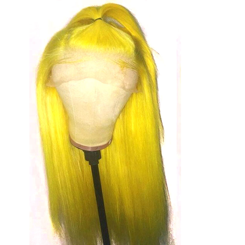 Bombsell Synthetic Lace Front Wig Red Or Yellow Long Straight Heat Resistant Fiber Hair Natural Hairline