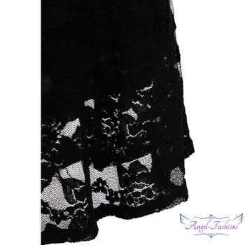 Angel-fashions Halter Sleeveless Lace vestidos de noche Long Evening Dresses Black 160 425 439 416 418