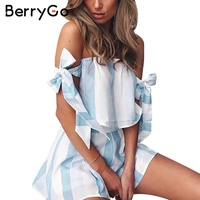 BerryGo Organza Blue Striped Bow Sleeve Jumpsuits Romper Women Off Shoulder Summer Beach Overalls Casual Two