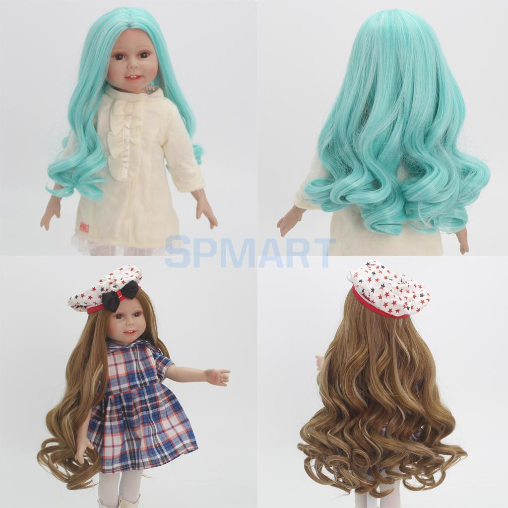 2pcs Fashion Green & Brown Wavy Curly Hair Wig for 18inch American Girl Dolls DIY Making Accessories Hairpiece Repair