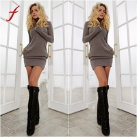 New Sexy Women Bodycon Long Sleeve Evening Party O Neck Short Mini Dress