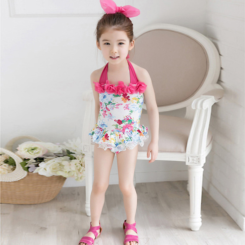 summer floral girl Korean children swimwear swimsuit bikini white color - Sesame Baby store