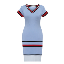 Young17 Autumn Dress Women 2017 Blue Stripe Color Block Knitted Bodycon Raglan Sleeve V-Neck Dress Women Bodycon Dress