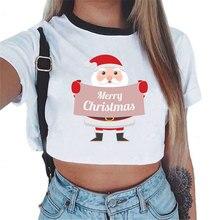 Женская футболка, Рождественский северный олень, Санта-Клаус, короткий топ с принтом, футболка на год, модная футболка Harajuku, женская футболка