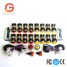 цены New Arcade DIY LED Parts Kit Including Zero Delay ELD USB Encoder+1P2P Player Start Buttons+9x30mm LED Illuminated Push Buttons
