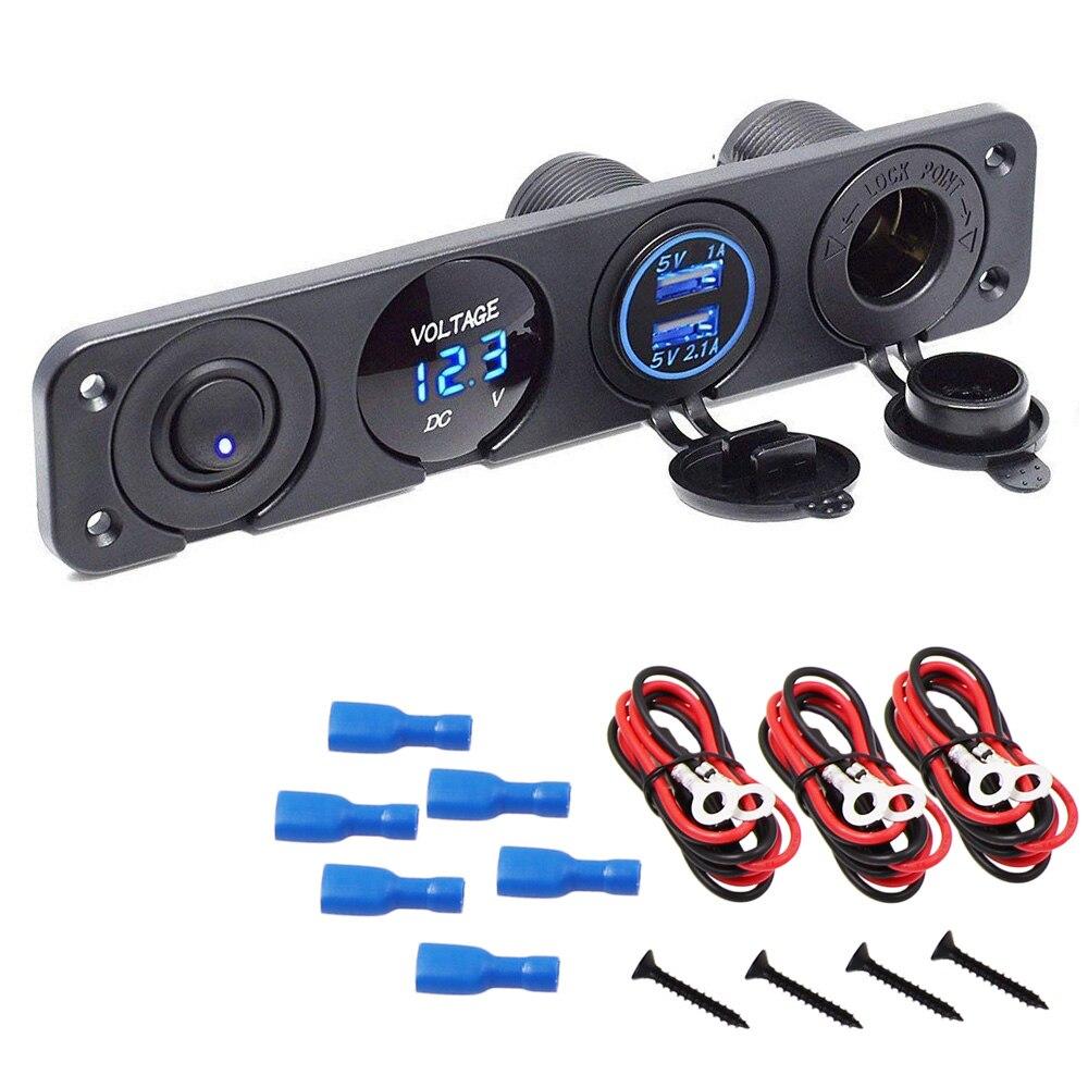 4 в 1 модификация автомобиля панель управления для лодки для детей возрастом от 12 V ~ 24V + Dual USB разъем зарядки 2,1 + светодиодный цифровой переклю...