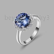 Natural AAA Diamond Tanzanite Ring Solid 18Kt White Gold Tanzanite Engagement Ring Round 7mm Tanzanite Jewelry WU220