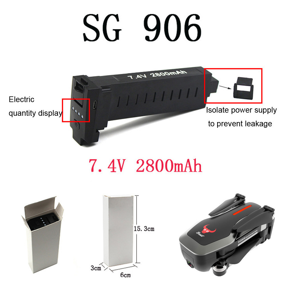 1PC Rechargeable High capacity <font><b>7.4V</b></font> <font><b>2800mAh</b></font> <font><b>Battery</b></font> For SG906 GPS Quadcopter RC Toys Part Fine Workmanship High Quality <font><b>Battery</b></font> image
