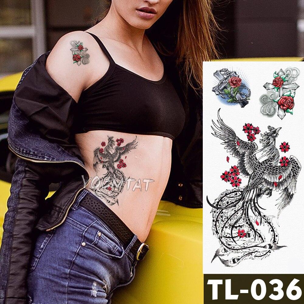 Fox leopard Tattoo Stickers Body Art waterproof temporary tattoos Line Phoenix old school style Watercolor Water translated line art