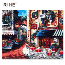 RIHE Morning Town Diy Painting By Numbers Abstract Cafe Oil On Canvas Cuadros Decoracion Acrylic Wall Picture For Room