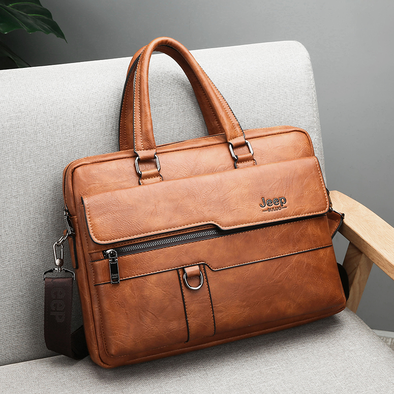 JEEP BULUO Brand Man Business Briefcase Bag Split Leather High Quality Men office Bags For 14 JEEP BULUO Brand Man Business Briefcase Bag Split Leather High Quality Men office Bags For 14 inch Laptop A4 File Causel Male