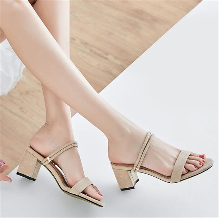 MLRCRIYG Summer new casual women's sandals cross straps leather shoes with high heels