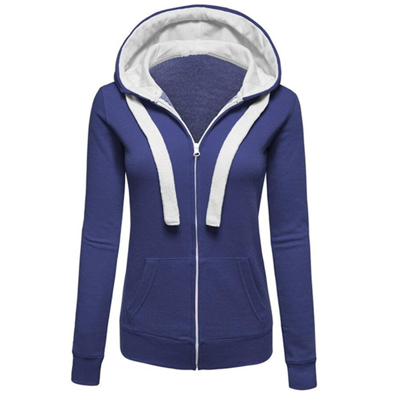 Womens Sweatshirt 5 Colors Unisex Plain Zip Up Hooded Zipper Hoodies Sweatshirt Ladies Women Men Coat Top