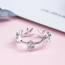 S925 Silver Antlers Rings Zircon Opening for Women Buckhorn Adjustable Ring Simplicity Animal Fine Jewelry