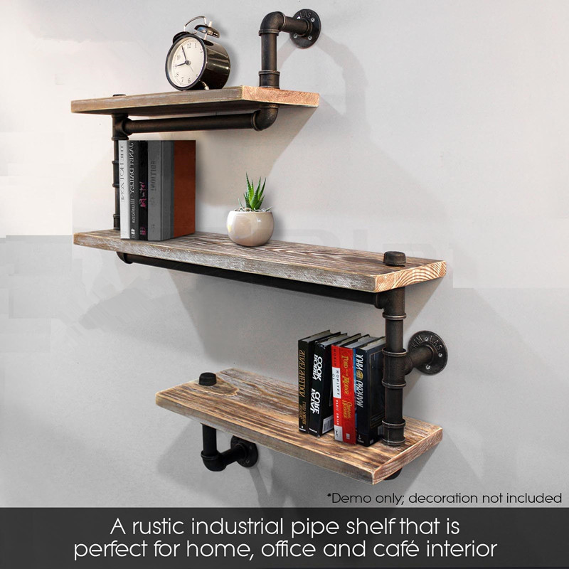 3-Tier Rustic Industrial Iron Pipe Wall Shelves Wood Planks Bookcase Storage Floating Shelf For Home Decor Storage Rack