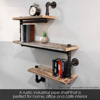 3 Tier Rustic Industrial Iron Pipe Wall Shelves Wood Planks Bookcase Storage Floating Shelf for Home Decor Storage Rack