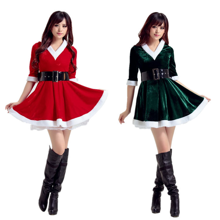 V-hat new European and American Christmas dress for women adult Santa Claus Christmas tree role-playing  santa claus costume