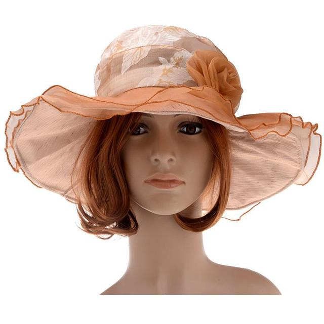 Summer Anti-UV Women s Sunproof Large-Brim Fashionable Hat with Lace and  Flowers in Antique Bronze Color e61de7bf43f