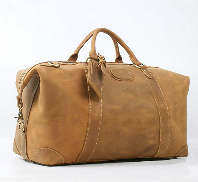 3e0aaf173410 Vintage Crazy Horse Genuine Leather Men s Travel Bag Large Luggage bag men  duffle Bag Overnight Weekend bag Big