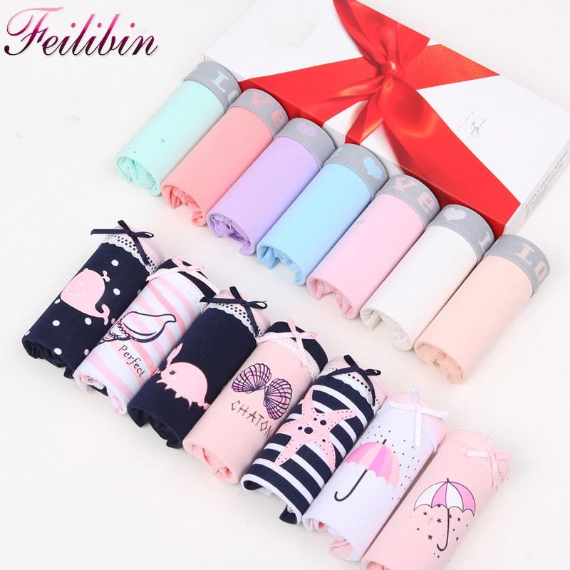 Feilibin 7Pcs/lot Cotton Women Panties Sexy Lace Girls Briefs Underwear Week Days Panty For Seamless Lingeries Plus Size 4XL