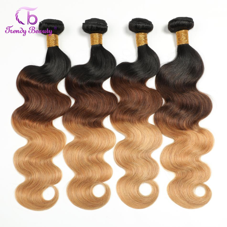 Ombre Brazilian Body Wave Hair 1B/4/27 Remy Human Hair Weaving Natural Weave Bundles 4PC Extension Trendy Beauty Hair 12-28 Inch